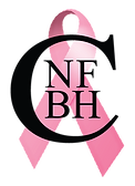 North Fork Breast Health Coalition Logo. A large pink breast cancer awareness ribbon overlayed with initials of the organization