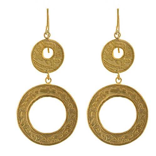 Double Drop Textured Circle Earrings
