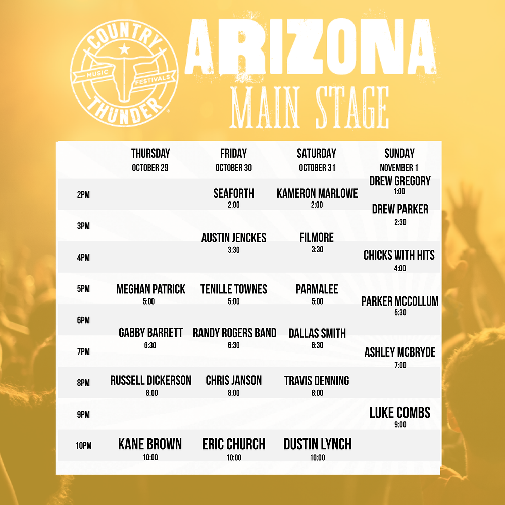 Country Thunder Arizona Main Stage Schedule