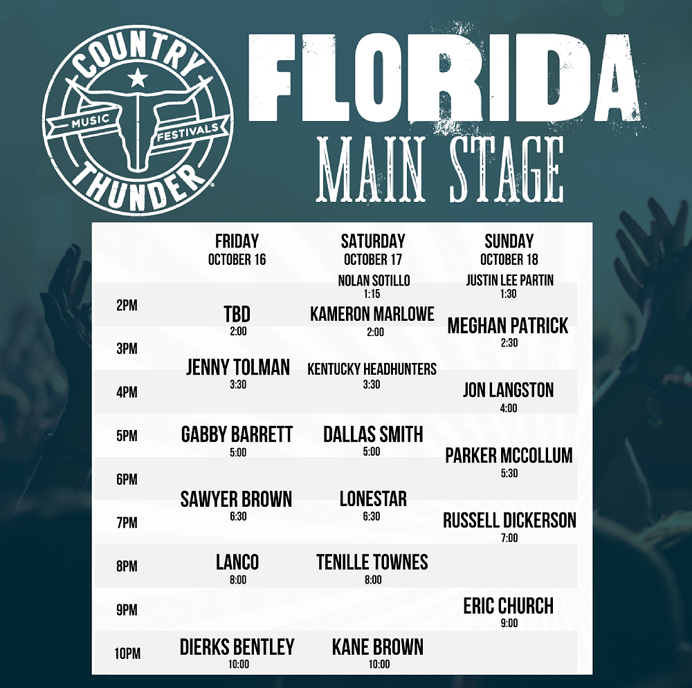 Country Thunder Florida Main Stage Schedule