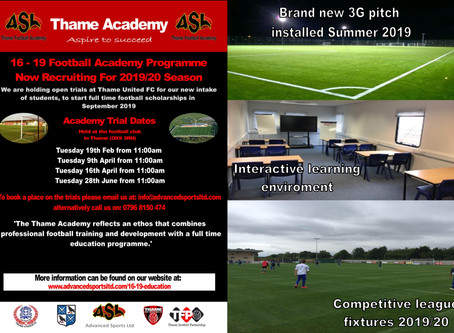 Thame Football Academy Trials - Tues 9th April