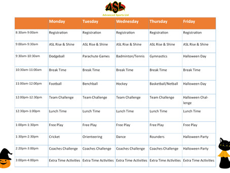 October Half Term Holiday Course Timetable