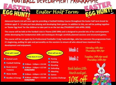 EASTER HALF TERM FOOTBALL HOLIDAY COURSE now available to BOOK!!