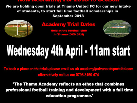 Thame Academy Trials for 2018/19 Season