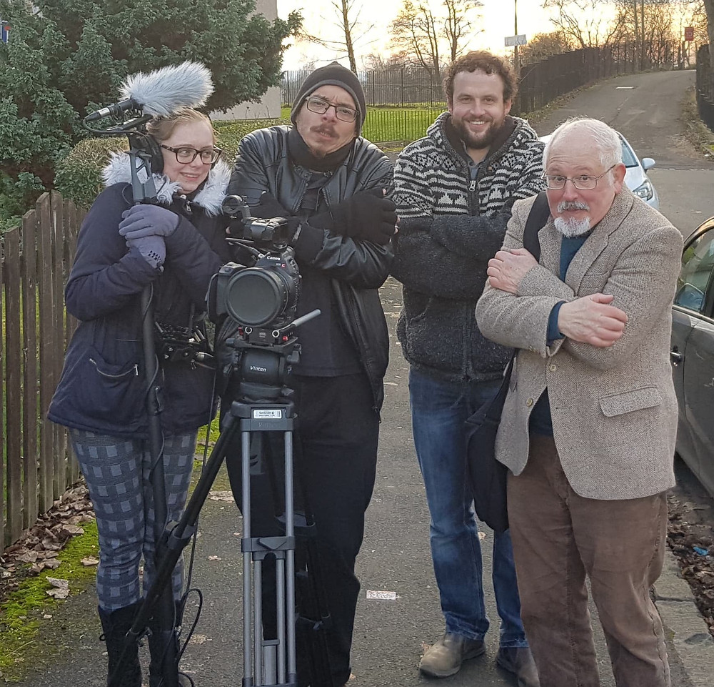 "On location, on a very cold day in Glasgow, filming one of my short films, ""Killing Kennedy"""