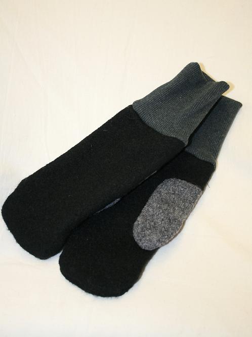 Handschuhe aus Walk, schwarz