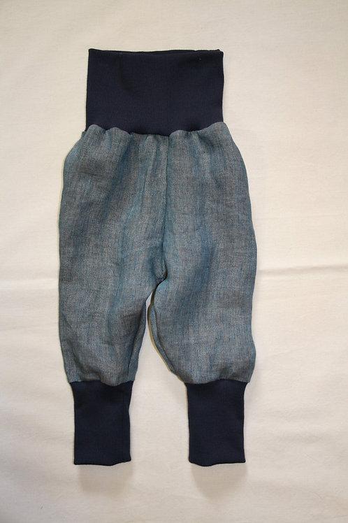 Leinenhose ab Gr.92, blau/grün