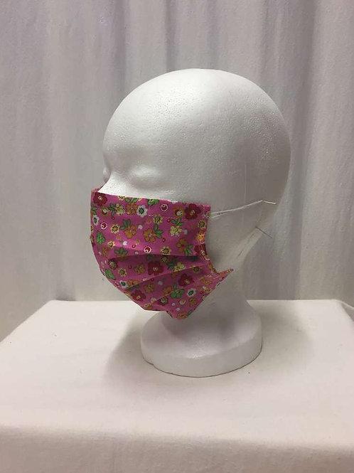 Maske, pink mit blumen