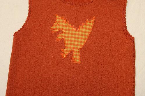 Pullunder Walk mit Knopf, orange
