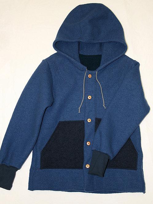 Walkjacke mit Kapuze und Taschen, blau