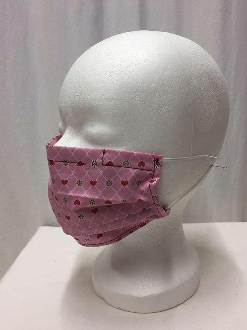 Maske, rosa mit Herzchen