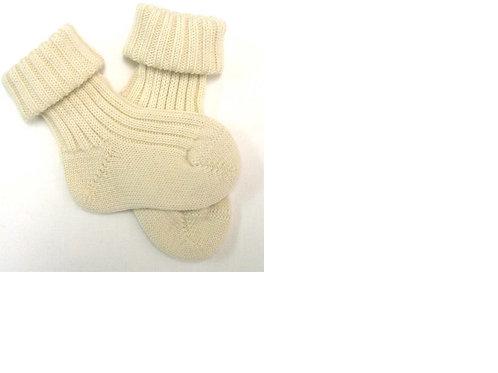 Babysocken grob aus Wolle, Natur