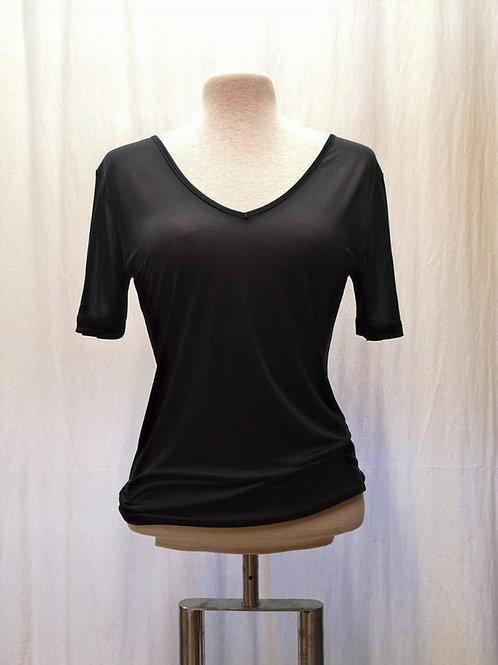 Kurzarmshirt aus Bioseide, schwarz von Alkena