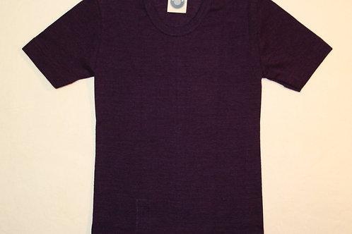 Wolle/Seide T-Shirt ab Gr.92, aubergine