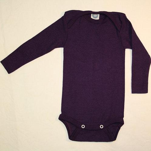 Wolle/Seide Body Gr.98/104, aubergine