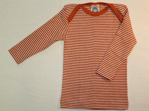 Schlupfhemd Wolle/Seide ab Gr.50, orangegestreift
