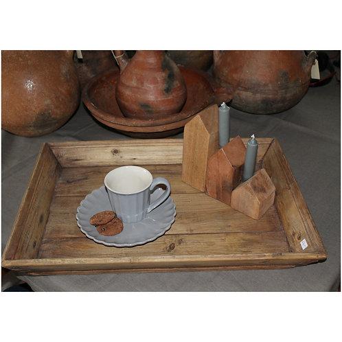 Indische houten huisjes voor kaarsen ( per 3)