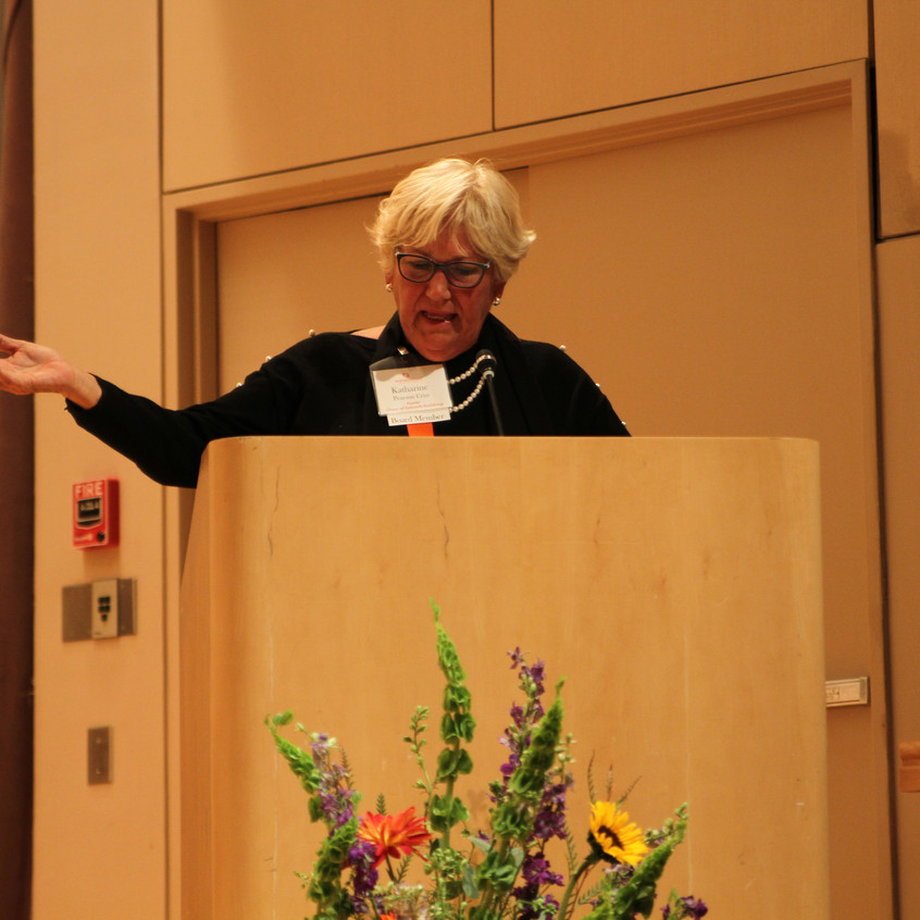 WFET Board Member Katharine Pearson Criss speaks on the mission of the Women's Fund.