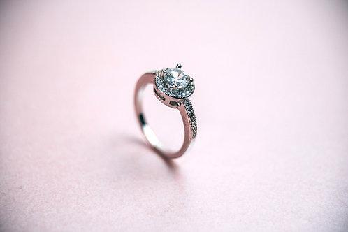 Platinum Round Halo Ring