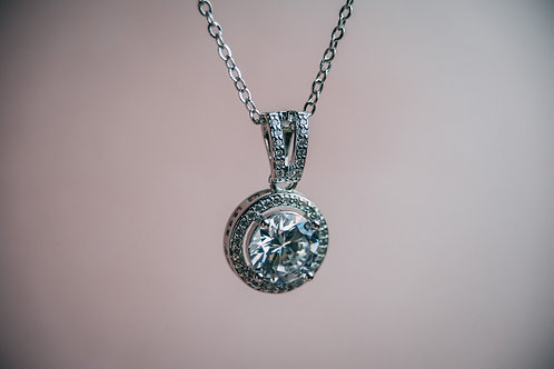 Platinum Halo Necklace