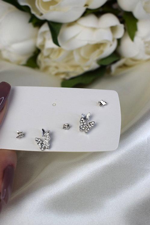 Silver Double Butterfly Earring Set