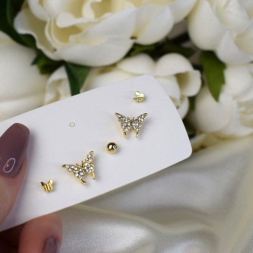 Gold Butterfly Earring Set