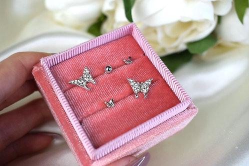 Silver Butterfly Earring Set