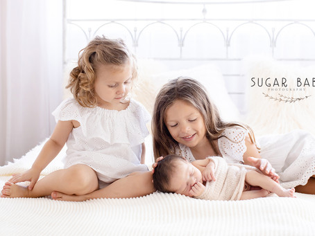 First Photo Session for Newborn Baby w/ Two Sisters and Big Brother