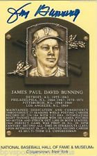JIM BUNNING PHILLIES SIGNED COOPERSTOWN HALL OF FAME INDUCTION PLAQUE CARD