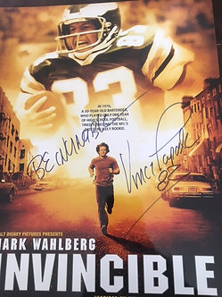 VINCE PAPALE EAGLES SIGNED 11X14 INVINCIBLE MOVIE POSTER