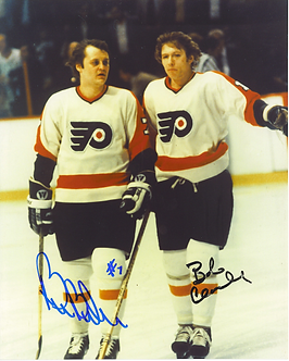 Bob Clarke Bill Barber Philadelphia Flyers dual signed 8x10 Hall of Fame Bullies