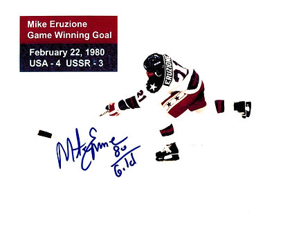 MIKE ERUZIONE SIGNED 1980 OLYMPIC GOLD MEDAL 8X10