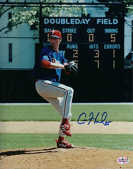 Cole Hamels Phillies signed rookie year 8x10 Cooperstown HOF game