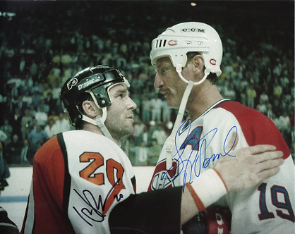 Dave Poulin Flyers Larry Robinson Canadians dual signed 8x10 playoff photo