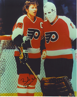 Bob Clarke Philadelphia Flyers signed 8x10 with Bernie Parent Hall of Fame