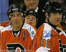 JOHN LECLAIR ERIC LINDROS DUAL SIGNED PHILADELPHIA FLYERS WINTER CLASSIC 8X10
