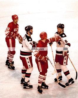 KEN MORROW BILL BAKER 1980 USA MIRACLE ON ICE PHOTO VS USSR