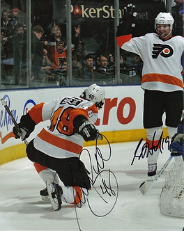 Danny Briere Scott Hartnell Philadelphia Flyers dual signed goal celebration