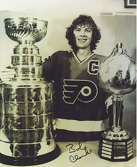 Bob Clarke autographed Philadelphia Flyers 8x10 with Stanley Cup and Hart Trophy