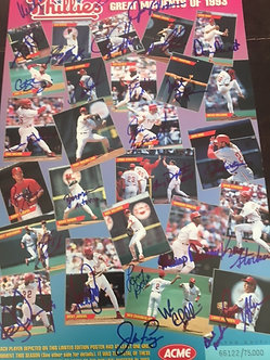 1993 PHILLIES GREATEST MOMENTS 28 SIGNED 11X17