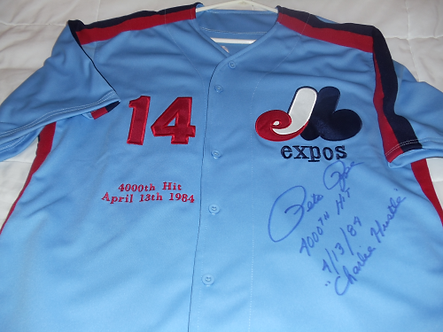 Pete Rose Rare Montreal Expos signed CHARLIE HUSTLE jersey 4000th hit