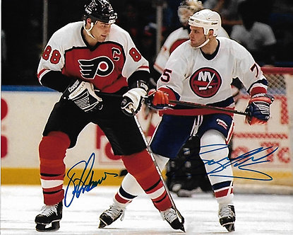 ERIC LINDROS FLYERS BRETT LINDROS ISLANDERS DUAL SIGNED 8X10