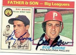 Bob Boone Phillies Ray Boone Tigers autographed father son card