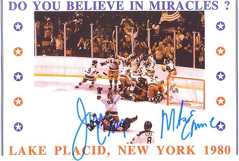 Mike Eruzione Jim Craig dual signed 1980 Miracle on Ice Celebration 8.5x11 #2