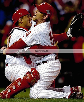 BRAD LIDGE CARLOS RUIZ 2008 PHILADELPHIA PHILLIES WORLD SERIES 8X10