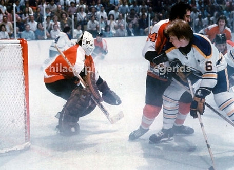 Bernie Parent Philadelphia Flyers Fog game vs Buffalo Sabres 8x10 photo #1