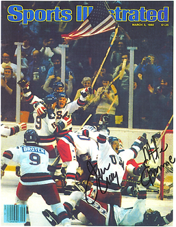 Mike Eruzione Jim Craig dual signed 1980 Miracle on Ice Celebration 8.5x11