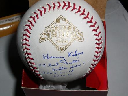 "Harry Kalas Philadelphia Phillies signed 2008 World Series Ball ""Outta Here"" #2"