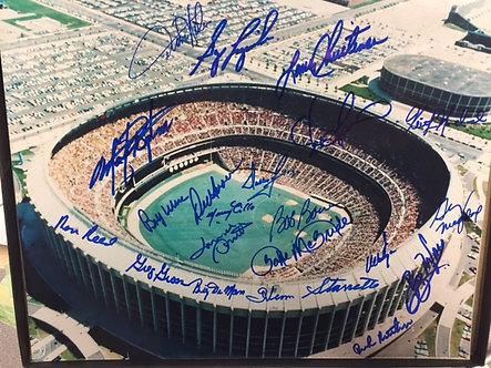 1980 PHILLIES WORLD SERIES 22 SIGNED 11X14 VET STADIUM DALLAS GREEN MCBRIDE REED