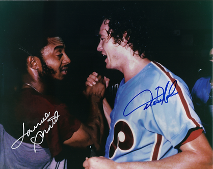 Dickie Noles Lonnie Smith dual signed 1980 Phillies World Series Victory 8x10